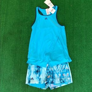 NWT Adidas girls two piece outfit shorts and tank